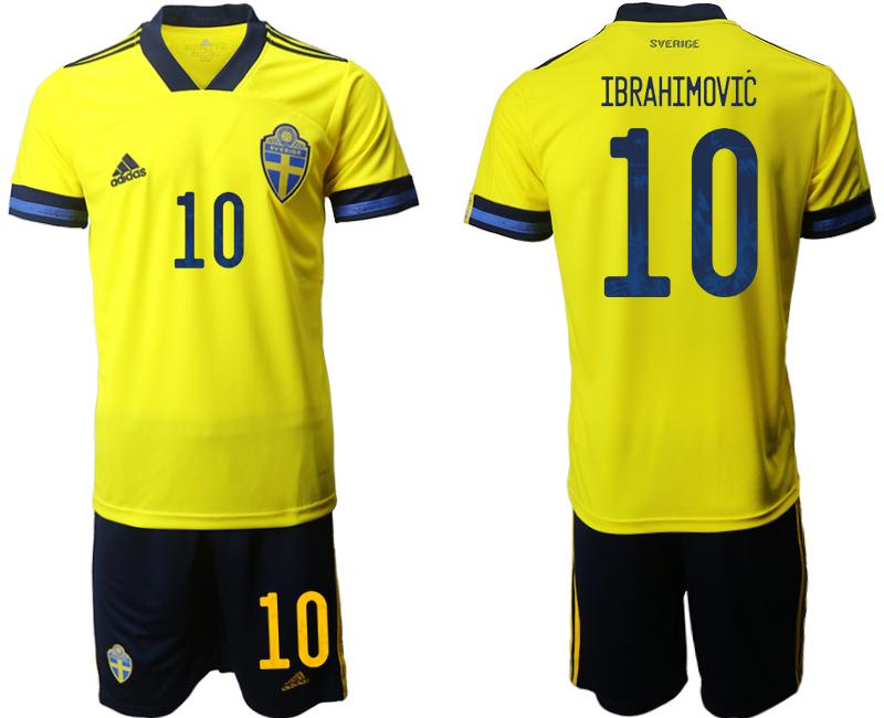 Sweden 10 IBRAHIMOVIC Home UEFA Euro 2020 Soccer Jersey