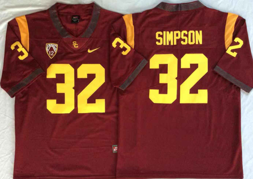USC Trojans 32 O.J.Simpson Red College Football Jersey