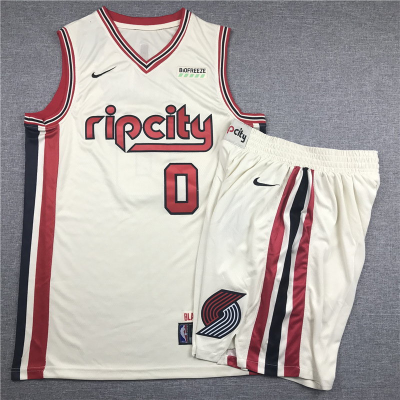 Blazers 0 Damian Lillard Cream 2019-20 Nike Swingman Jersey(Whith Shorts)