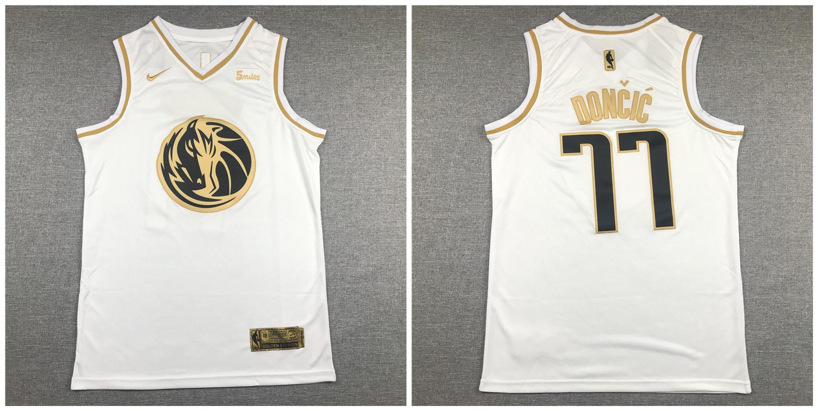 Mavericks 77 Luka Doncic White Gold Nike Swingman Jersey
