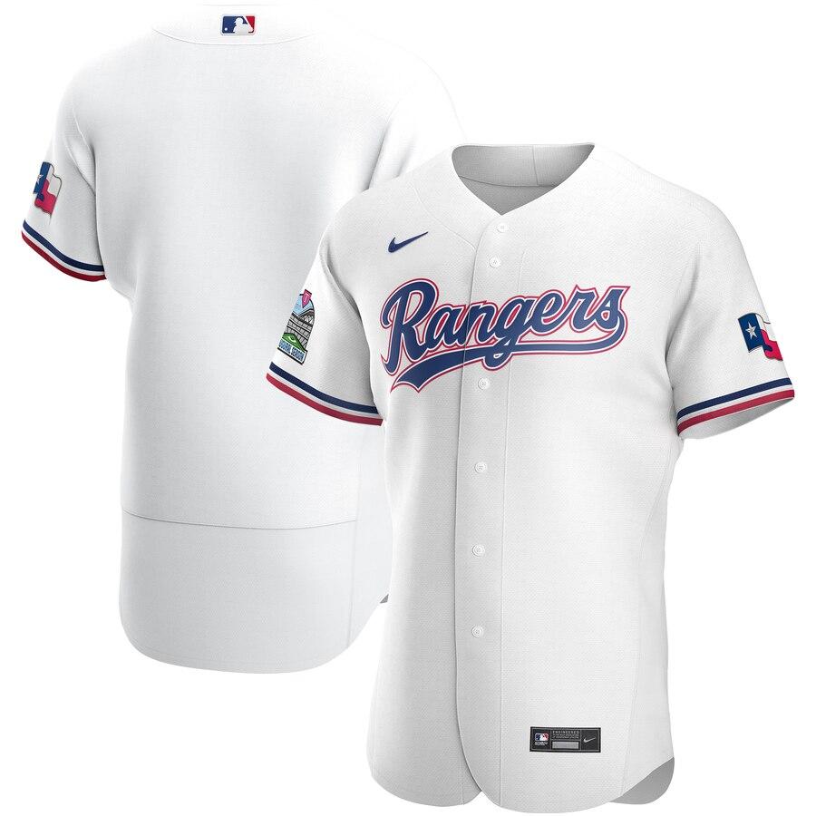 Rangers Blank White Nike 2020 Flexbase Jersey
