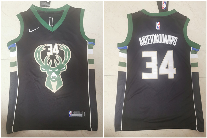 Bucks 34 Giannis Antetokounmpo Black Youth Nike Swingman Jersey