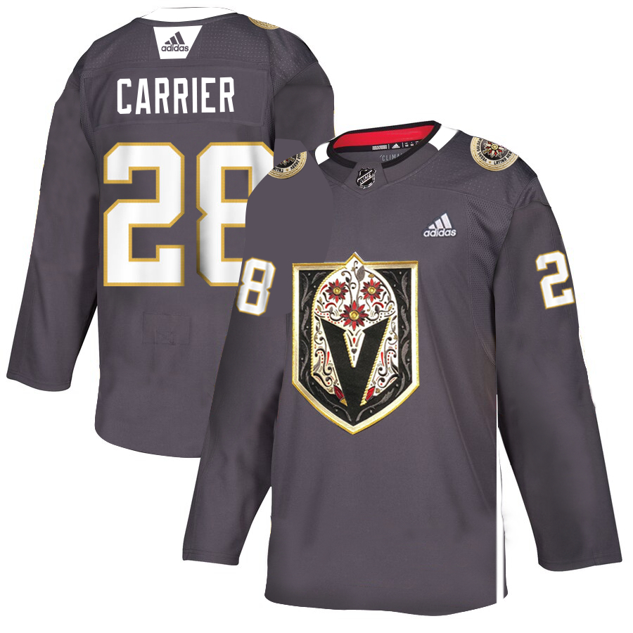 Vegas Golden Knights 28 William Carrier Gray Dia De Los Muertos Adidas Jersey