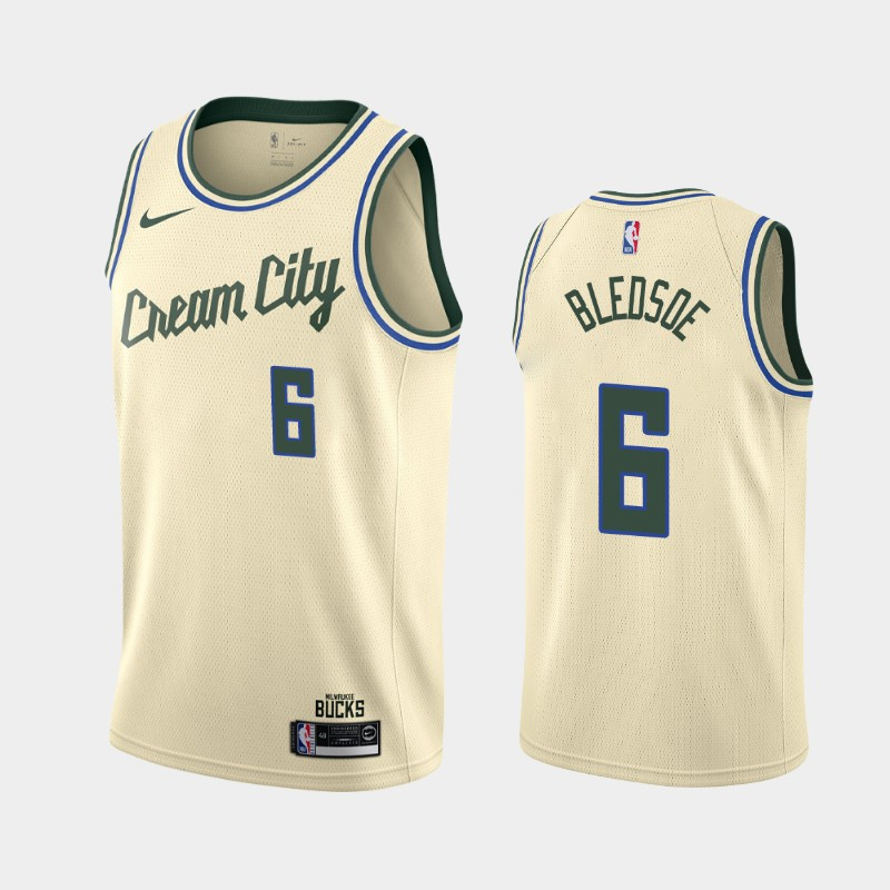 Bucks 6 Eric Bledsoe Cream 2019-20 Nike City Edition Swingman Jersey