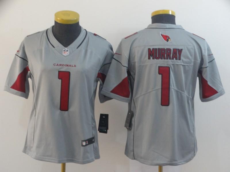 Nike Cardinals 1 Kyler Murray Silver Women Inverted Legend Jersey