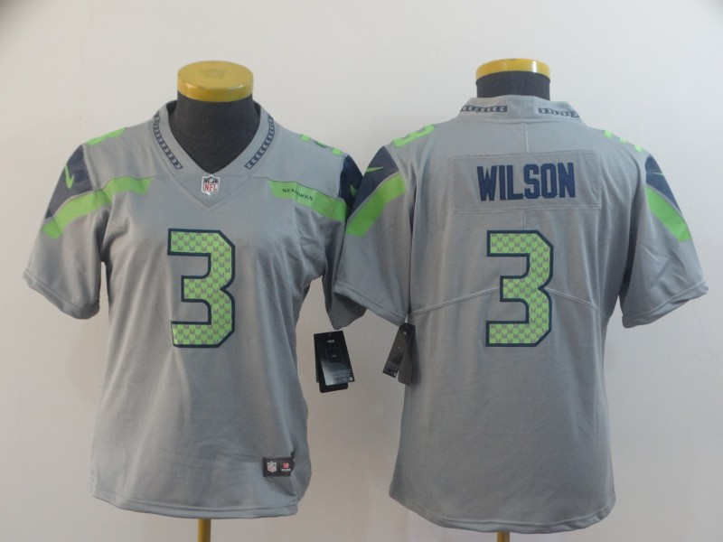 Nike Seahawks 3 Russell Wilson Gray Women Inverted Legend Limited Jersey