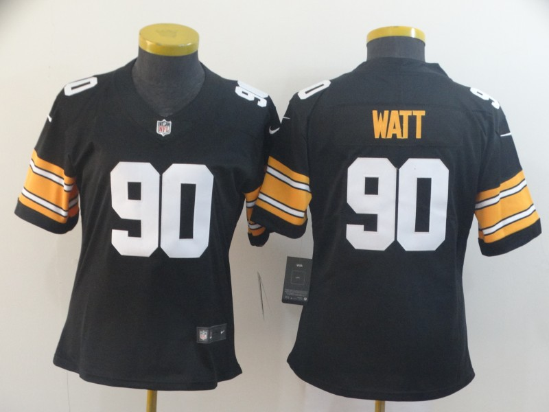 Nike Steelers 90 T.J. Watt Black Alternate Women Vapor Untouchable Limited Jersey
