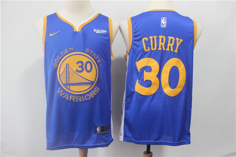 Warriors 30 Stephen Curry Blue 2018 19 Earned Edition Nike Swingman Jersey