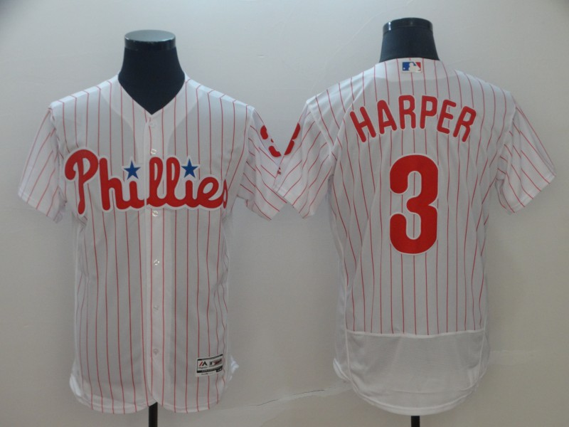 Phillies 3 Bryce Harper White Flexbase Jersey