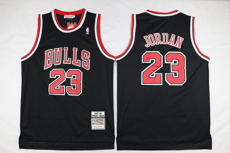 Bulls 23 Michael Jordan Black 1997-98 Hardwood Classics Jersey