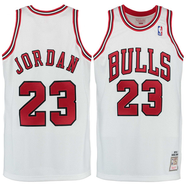 Bulls 23 Michael Jordan White Hardwood Classics Jerseys