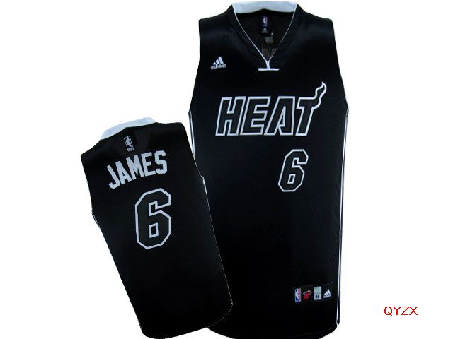 Heat 6 LeBron James Black Swingman Jersey