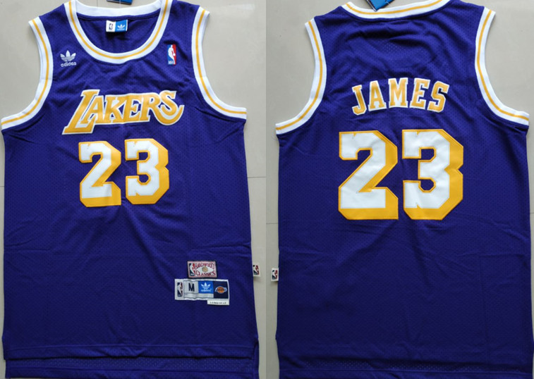 Lakers 23 Lebron James Purple Hardwood Classics Jersey