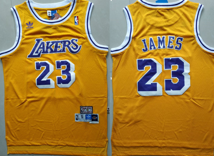 Lakers 23 Lebron James Yellow Hardwood Classics Jersey