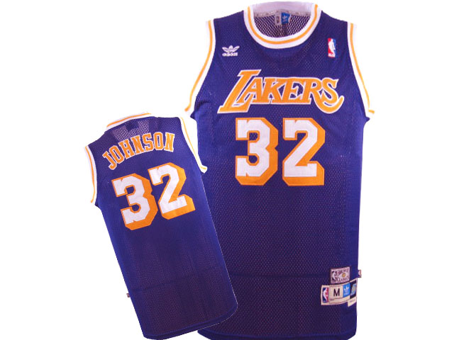 Lakers 32 Magic Johnson Purple Hardwood Classics Jersey