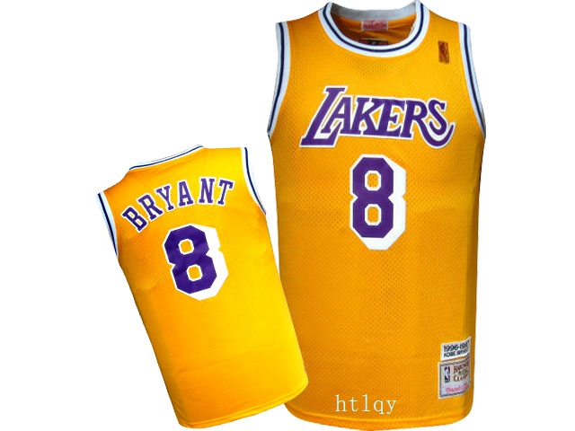 Lakers 8 Kobe Bryant Yellow 1996 97 Hardwood Classics Jersey