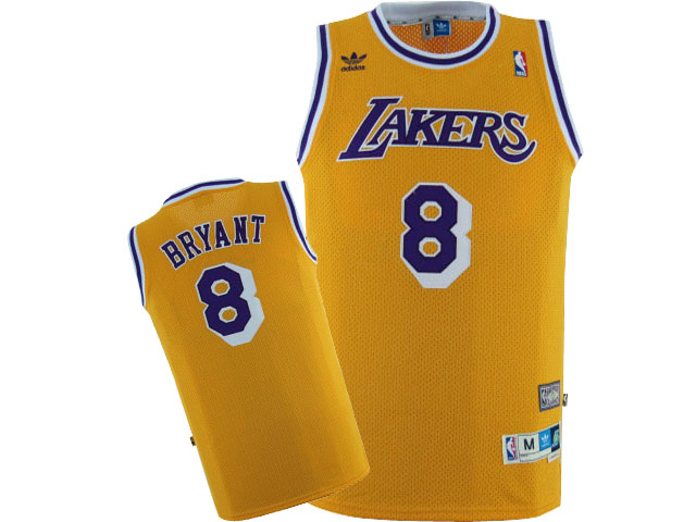 Lakers 8 Kobe Bryant Yellow Hardwood Classics Jersey