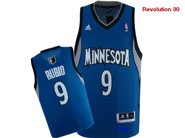 Timberwolves 9 Ricky Rubio Blue Revolution 30 Jersey