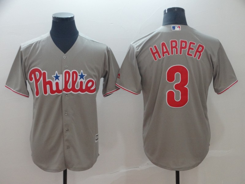 Phillies 3 Bryce Harper Gray Cool Base Jersey