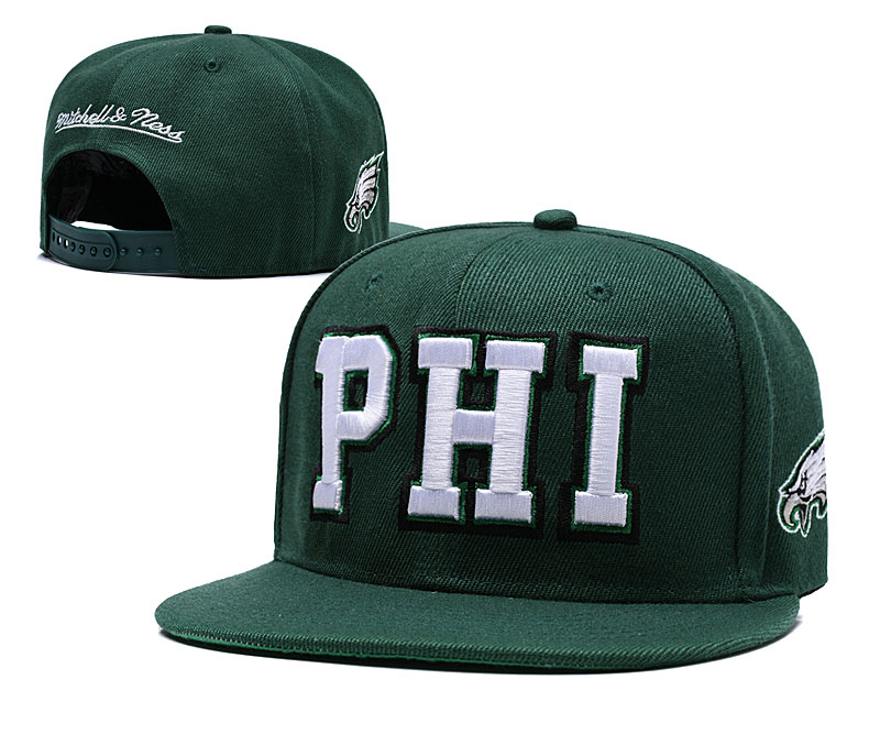 Eagles Team Logo Green Mitchell & Ness Adjustable Hat LH