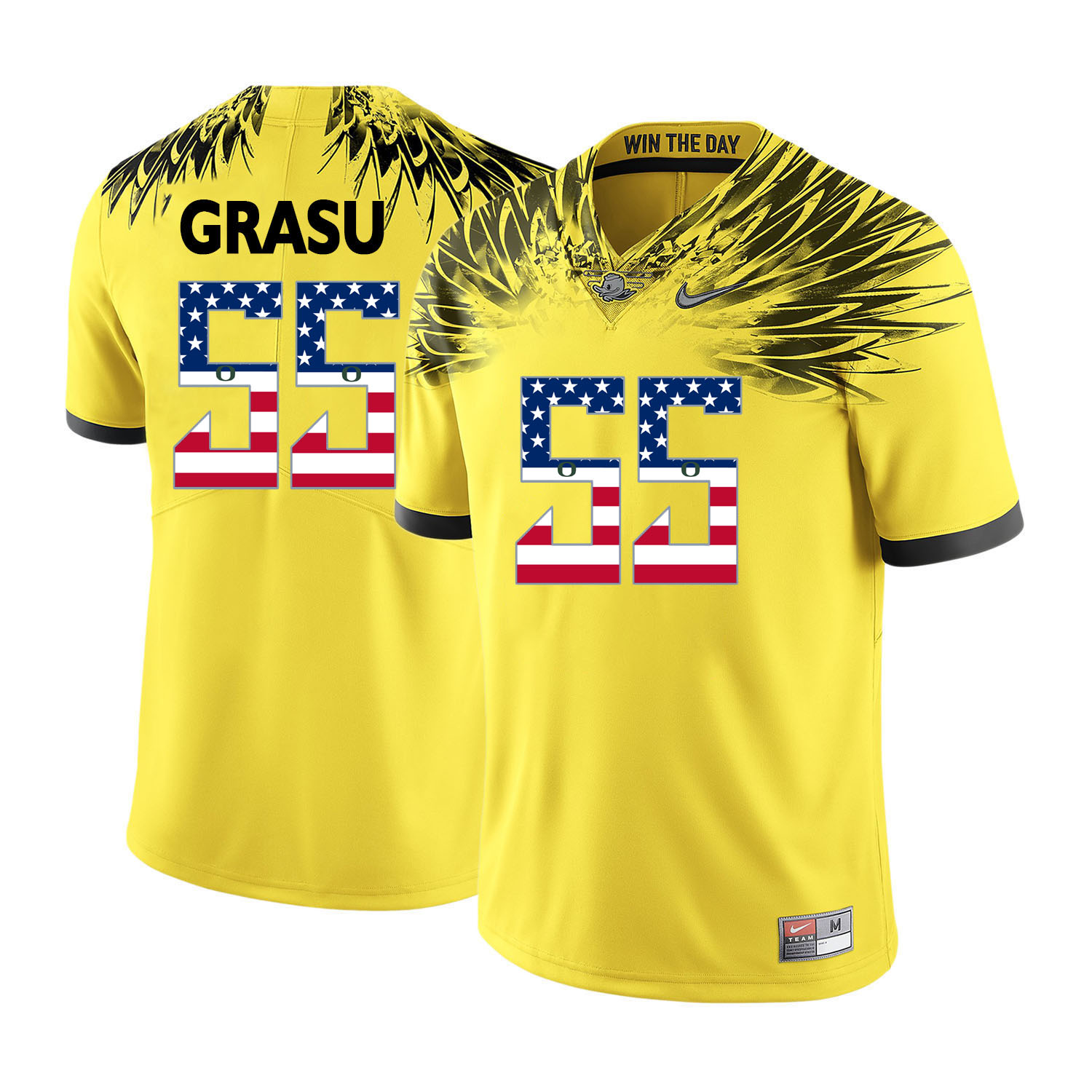 Oregon Ducks 55 Hroniss Grasu Yellow USA Flag College Football Jersey
