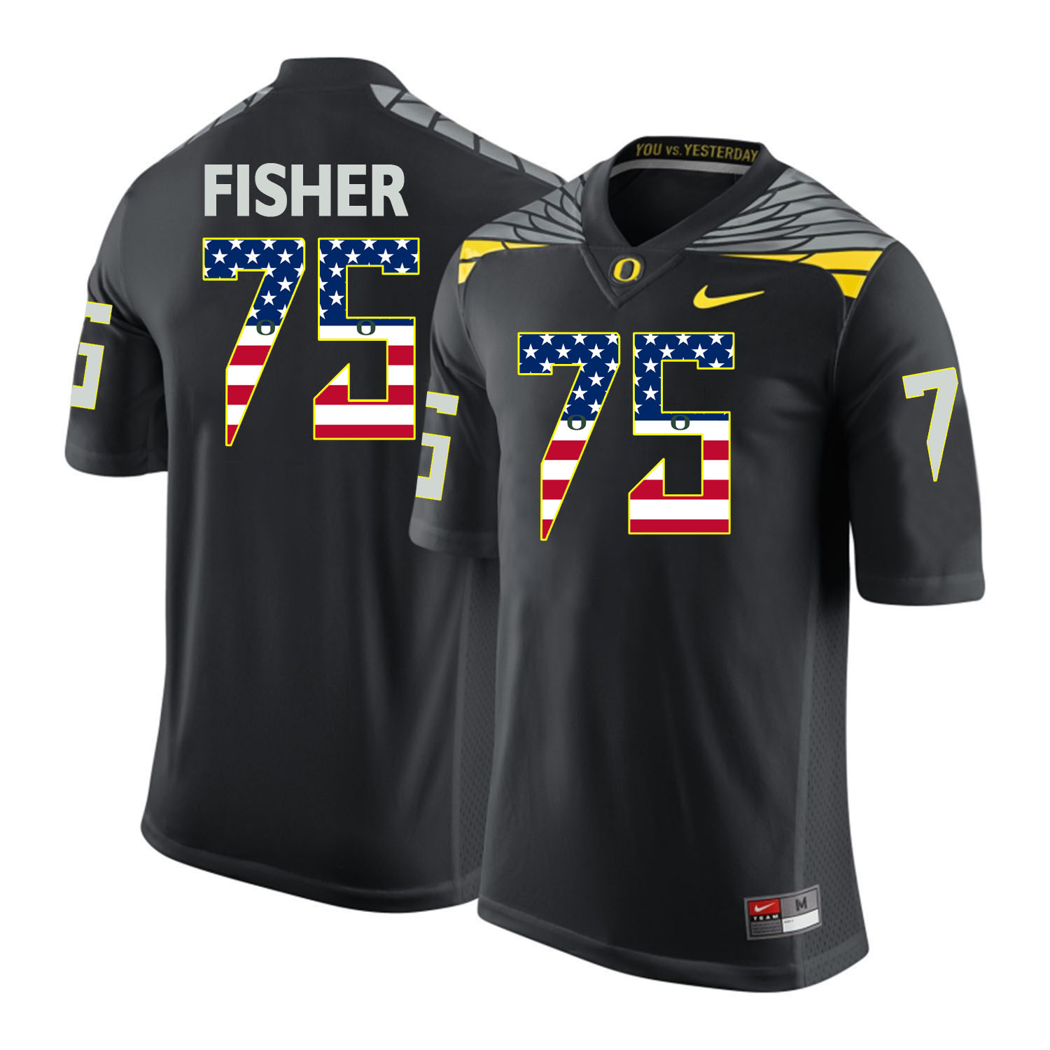 Oregon Ducks 75 Jake Fisher Black USA Flag College Football Jersey