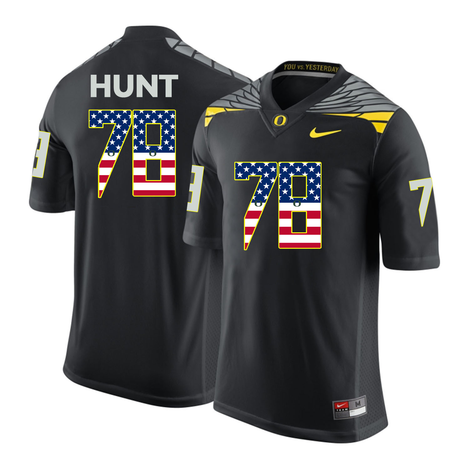 Oregon Ducks 78 Cameron Hunt Gray USA Flag College Football Jersey