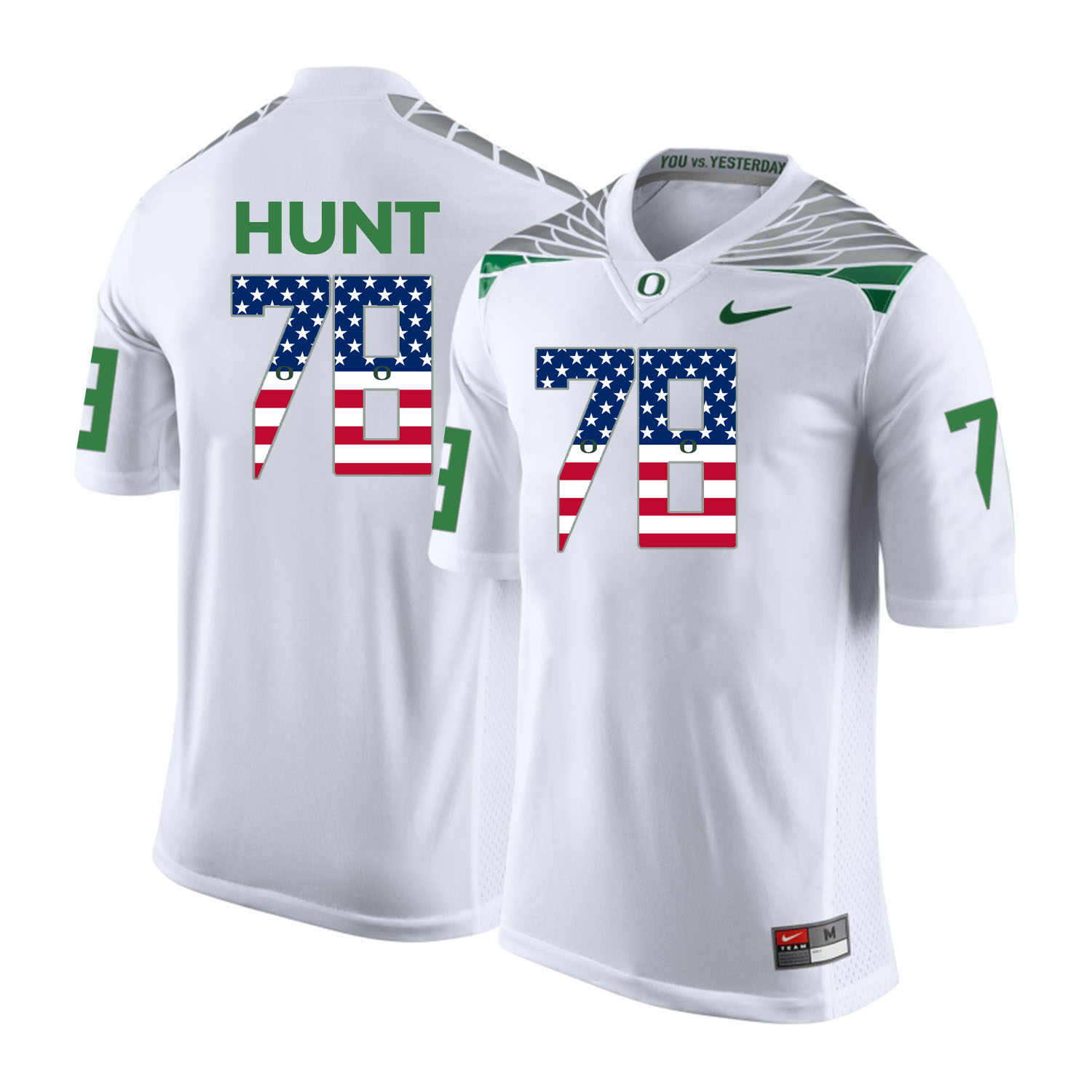 Oregon Ducks 78 Cameron Hunt White USA Flag College Football Jersey