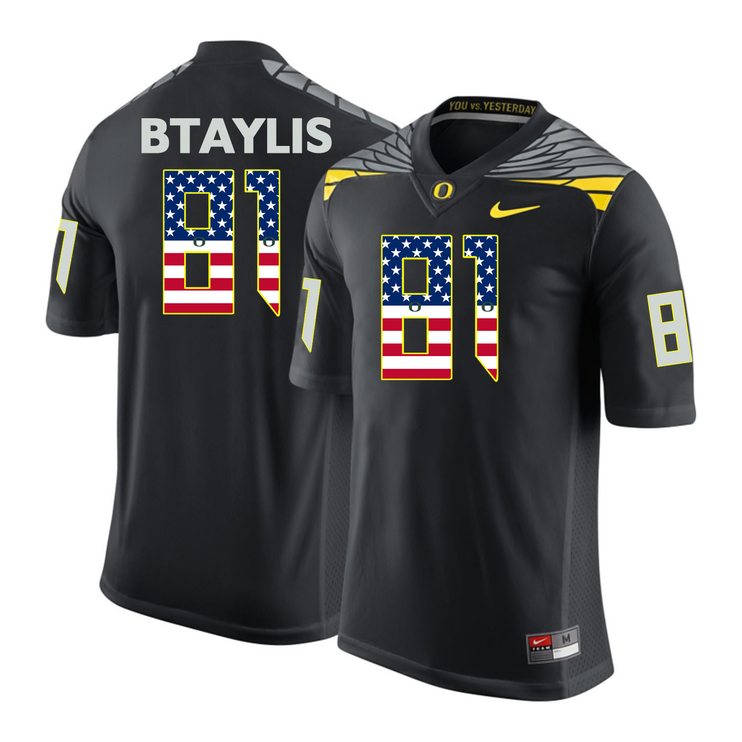Oregon Ducks 81 Evan Baylis Black USA Flag College Football Jersey