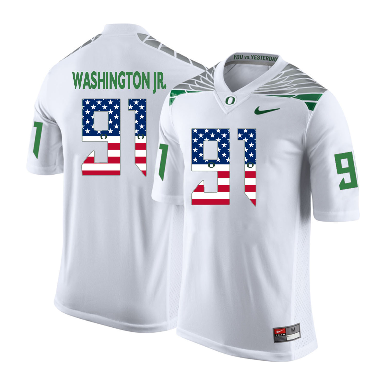 Oregon Ducks 91 Tony Washington Jr. White USA Flag College Football Jersey