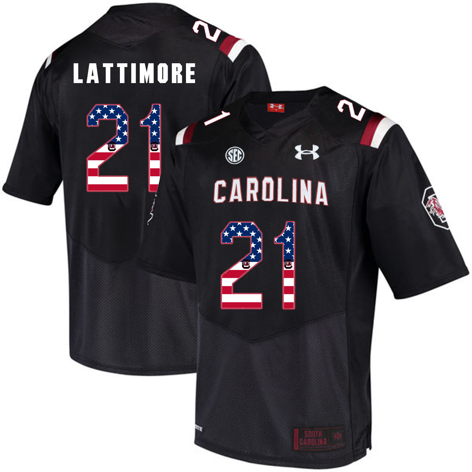 South Carolina Gamecocks 21 Marcus Lattimore Black USA Flag College Football Jersey