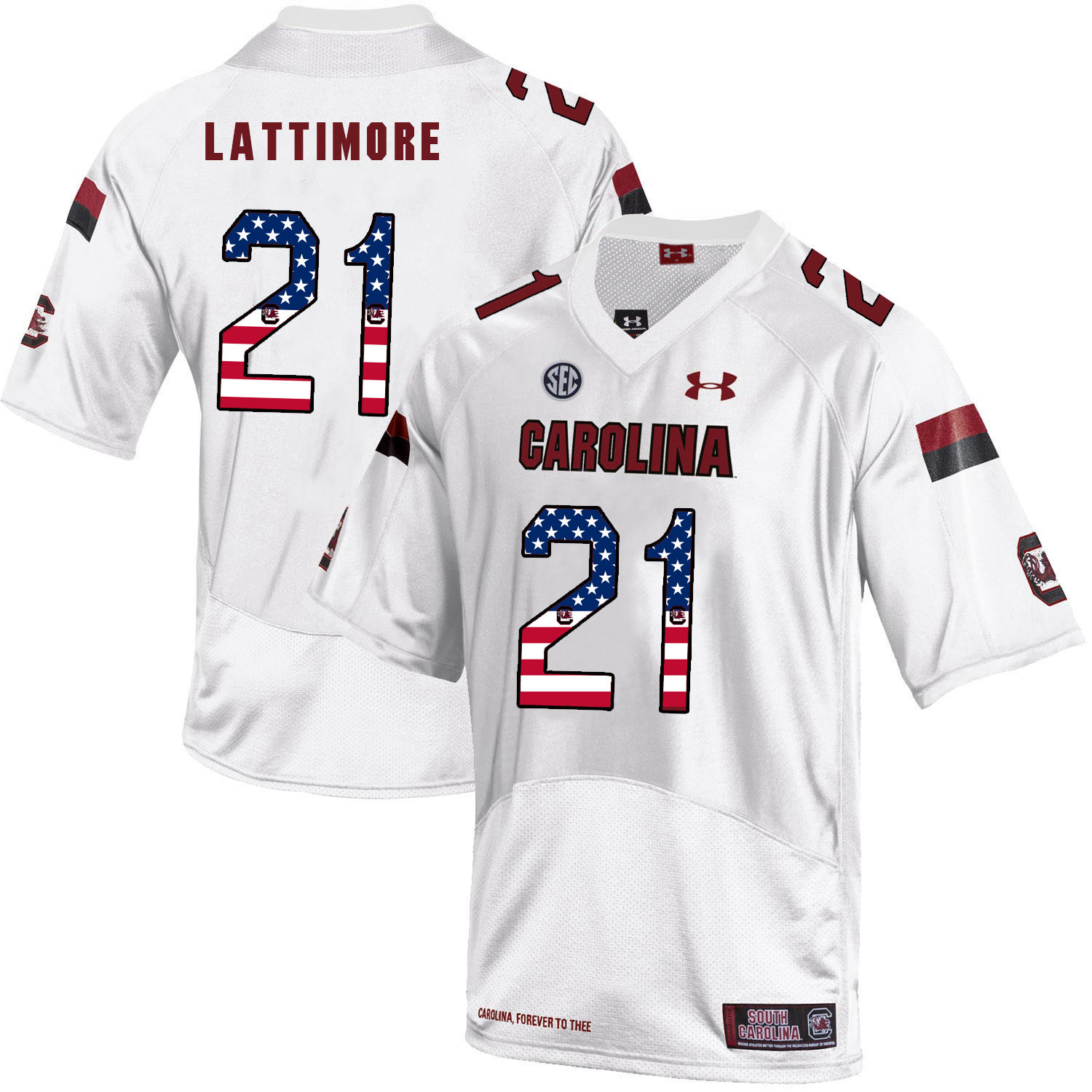 South Carolina Gamecocks 21 Marcus Lattimore White USA Flag College Football Jersey