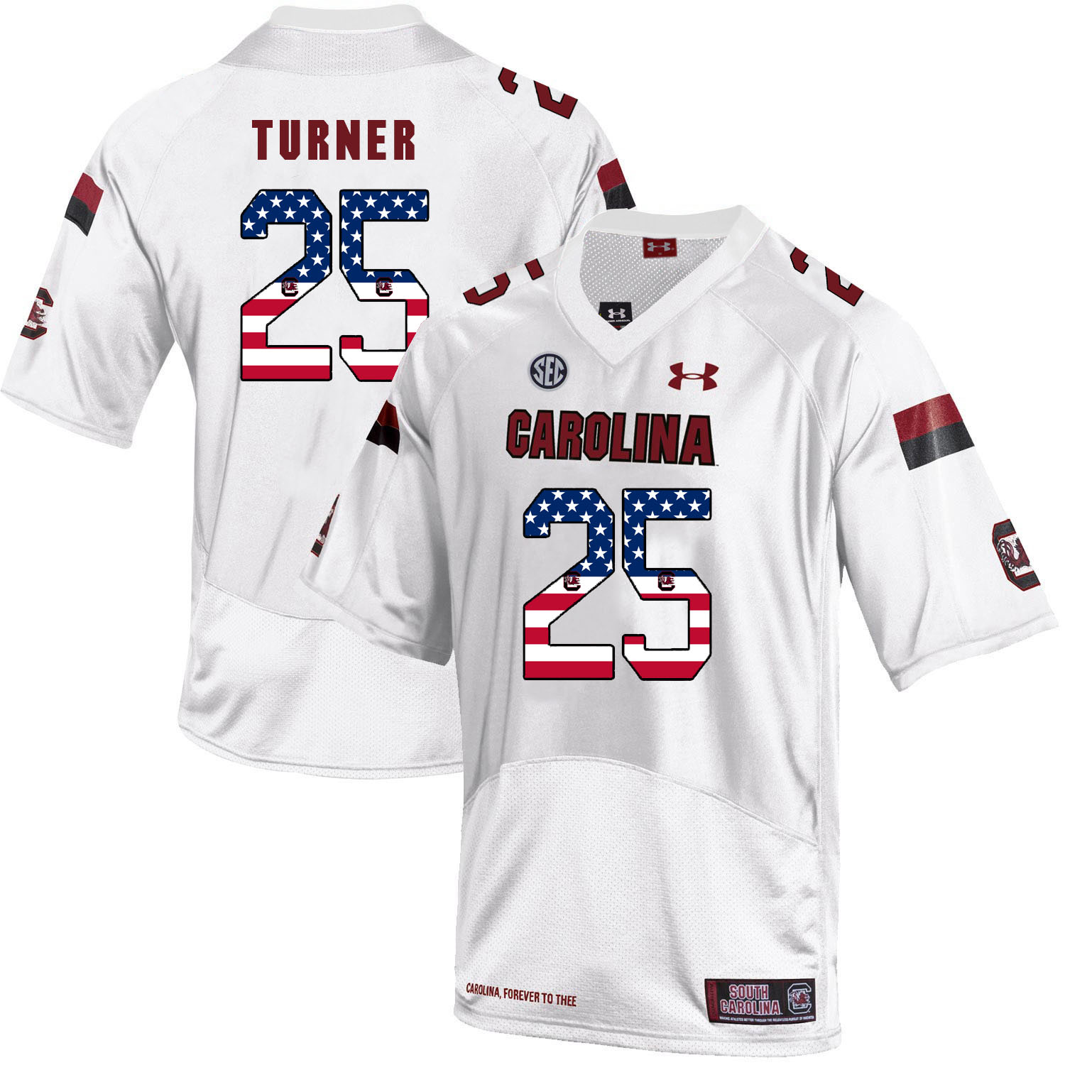 South Carolina Gamecocks 25 A.J. Turner White USA Flag College Football Jersey