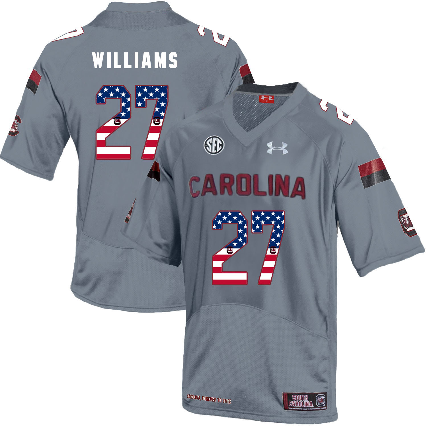 South Carolina Gamecocks 27 Ty'Son Williams Gray USA Flag College Football Jersey