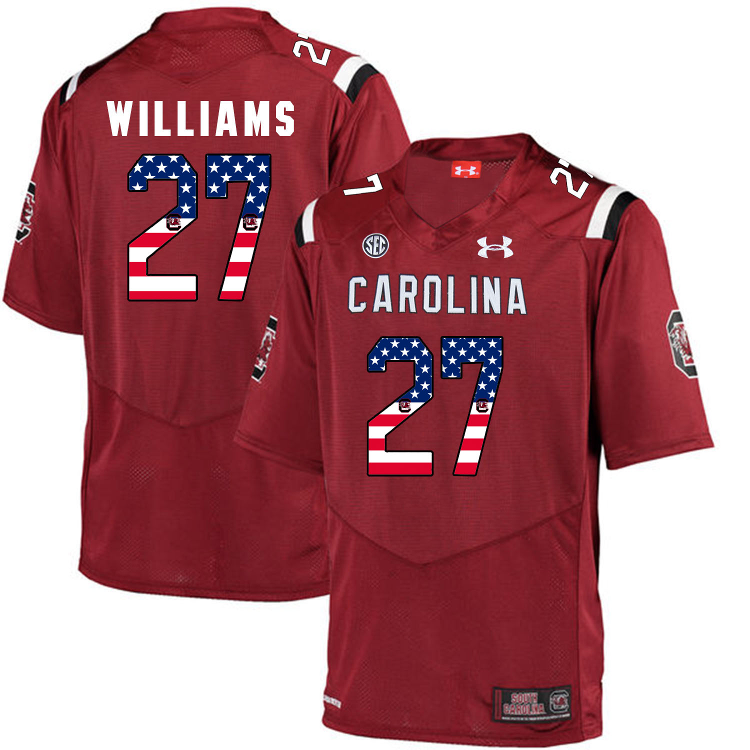 South Carolina Gamecocks 27 Ty'Son Williams Red USA Flag College Football Jersey