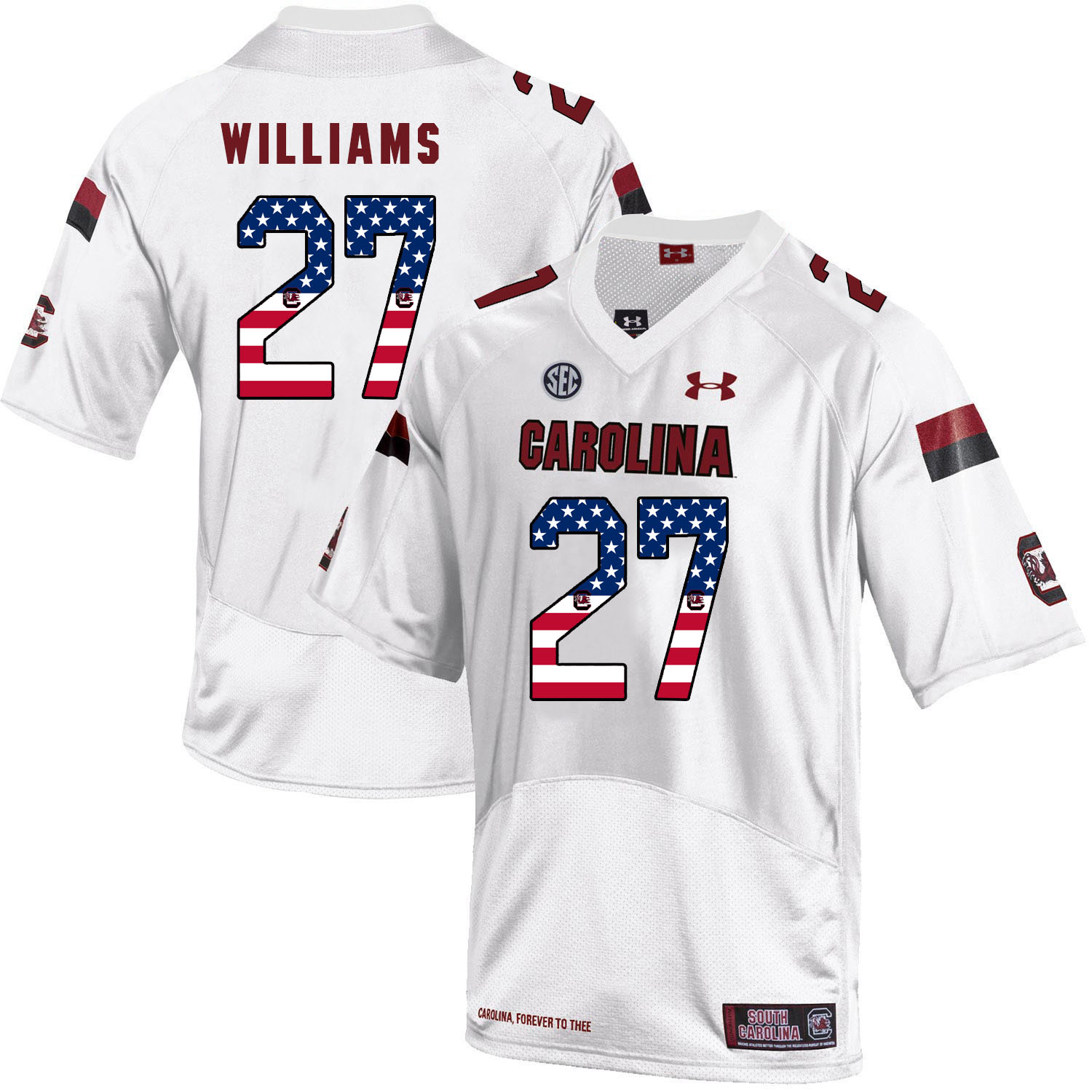 South Carolina Gamecocks 27 Ty'Son Williams White USA Flag College Football Jersey