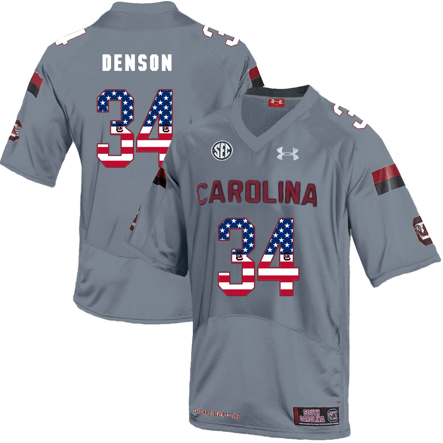 South Carolina Gamecocks 34 Mon Denson Gray USA Flag College Football Jersey