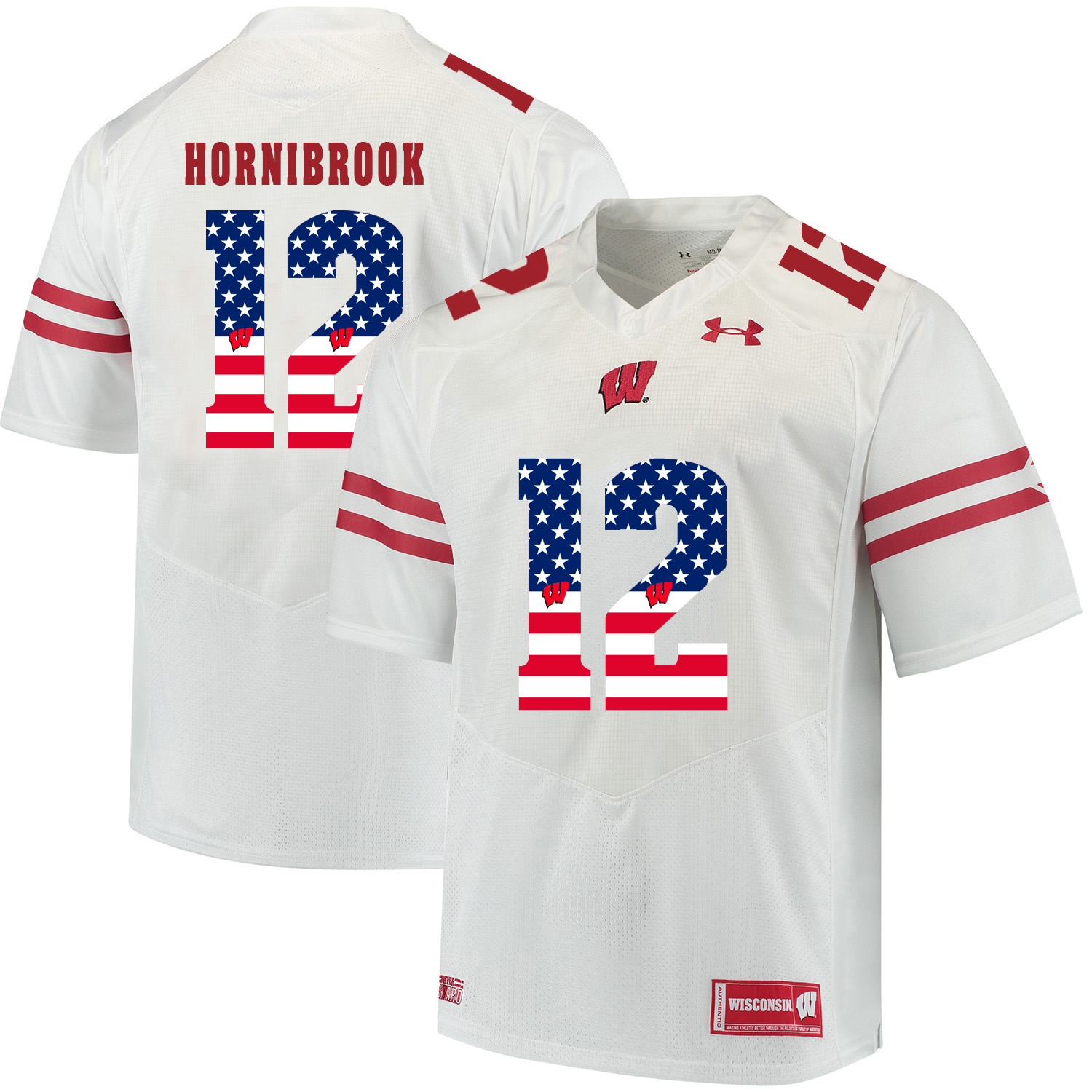 Wisconsin Badgers 12 Alex Hornibrook White USA Flag College Football Jersey