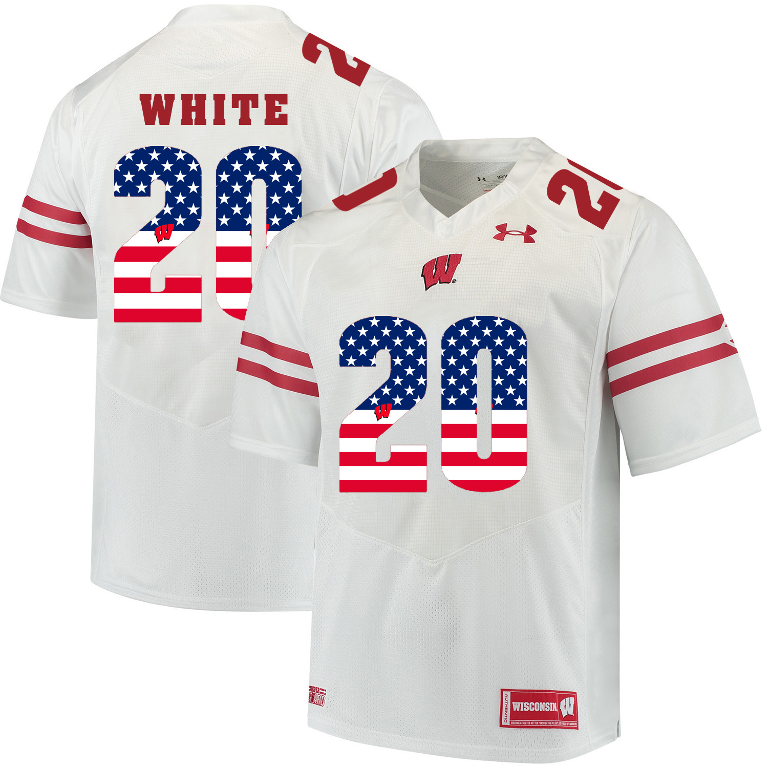 Wisconsin Badgers 20 James White White USA Flag College Football Jersey