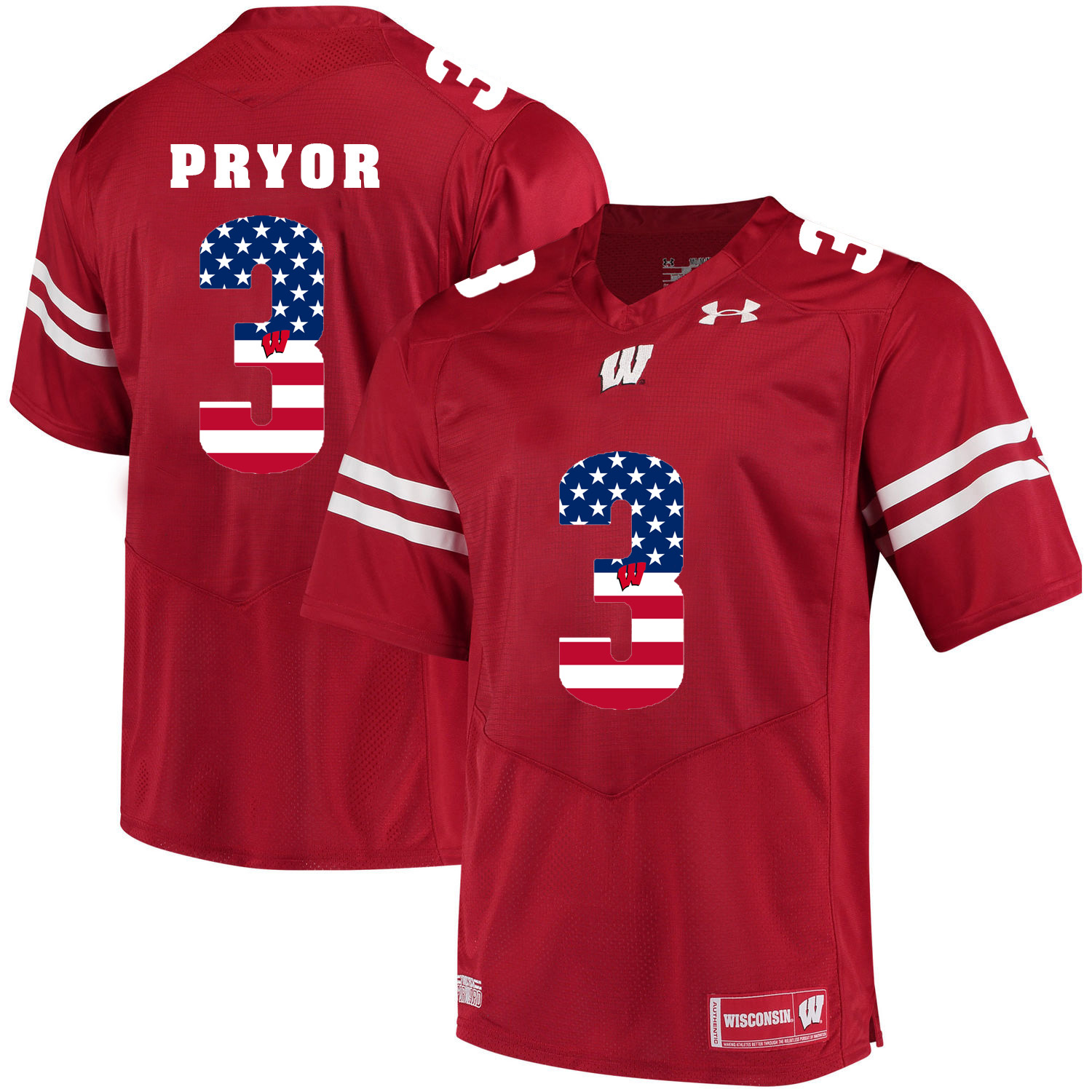 Wisconsin Badgers 3 Kendric Pryor Red USA Flag College Football Jersey