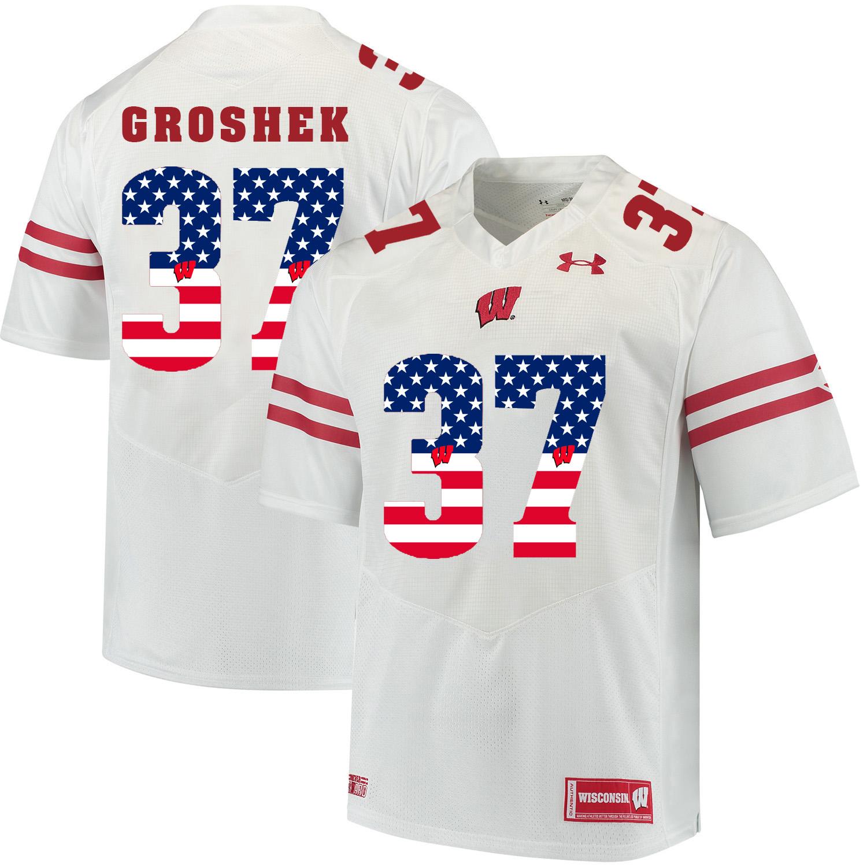Wisconsin Badgers 37 Garrett Groshek White USA Flag College Football Jersey