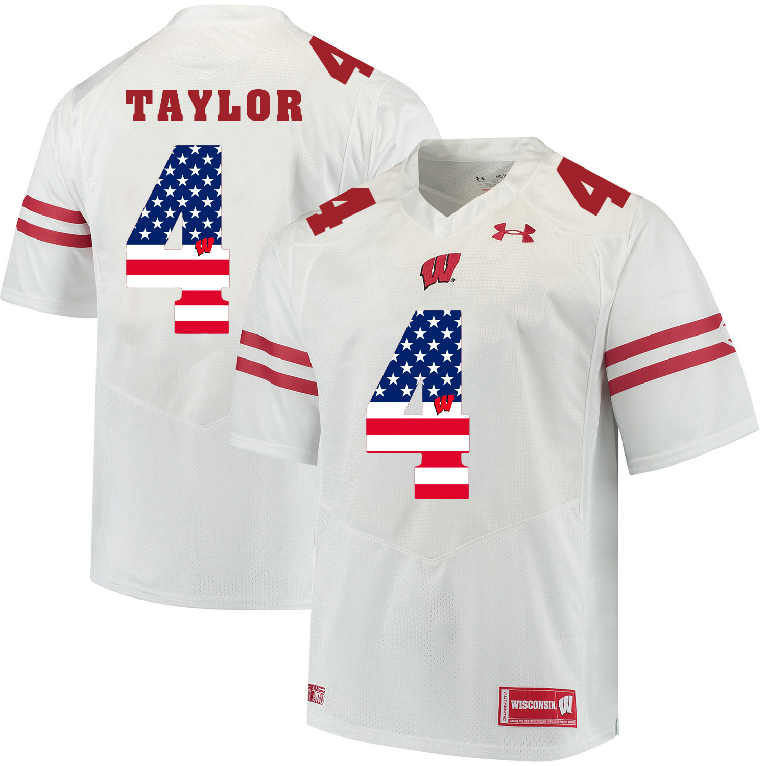 Wisconsin Badgers 4 A.J. Taylor White USA Flag College Football Jersey