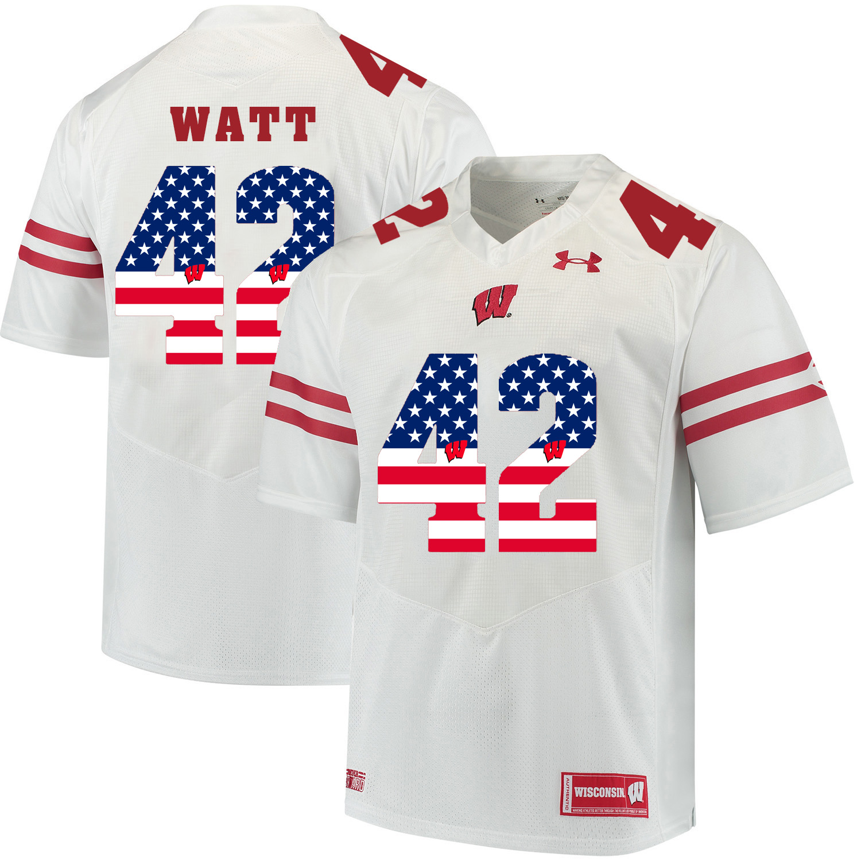 Wisconsin Badgers 42 T.J. Watt White USA Flag College Football Jersey