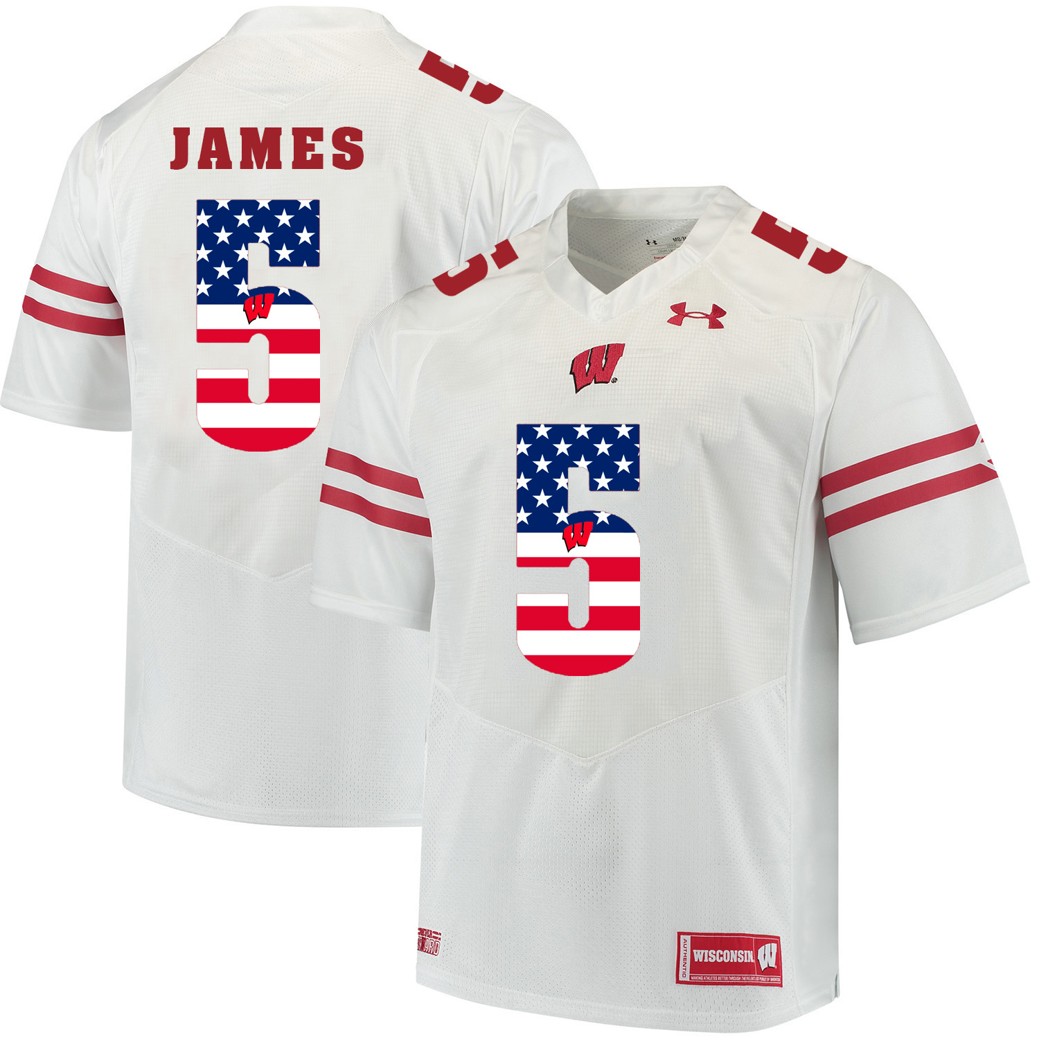 Wisconsin Badgers 5 Chris James White USA Flag College Football Jersey