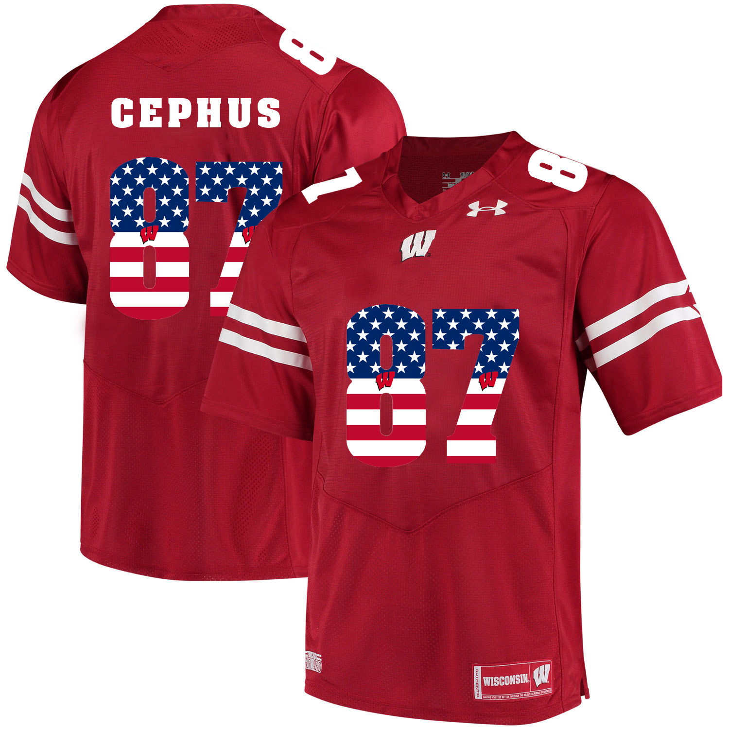 Wisconsin Badgers 87 Quintez Cephus Red USA Flag College Football Jersey