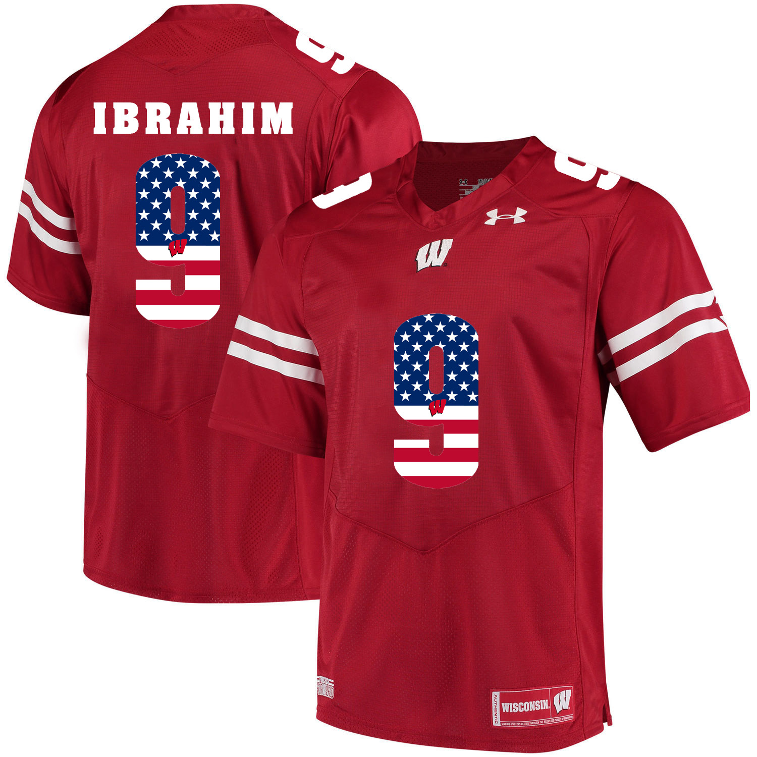Wisconsin Badgers 9 Rachid Ibrahim Red USA Flag College Football Jersey