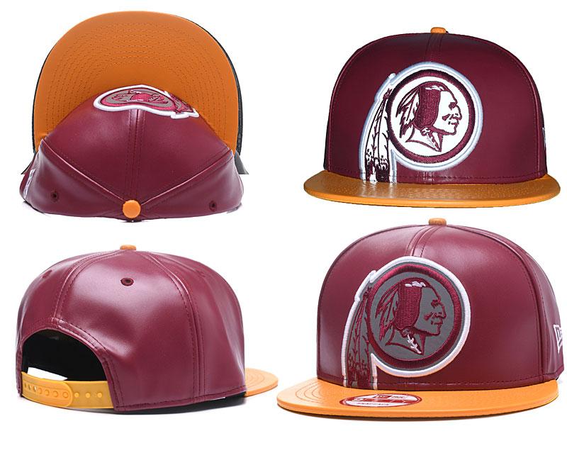 Redskins Team Logo Red Leather Adjustable Hat GS