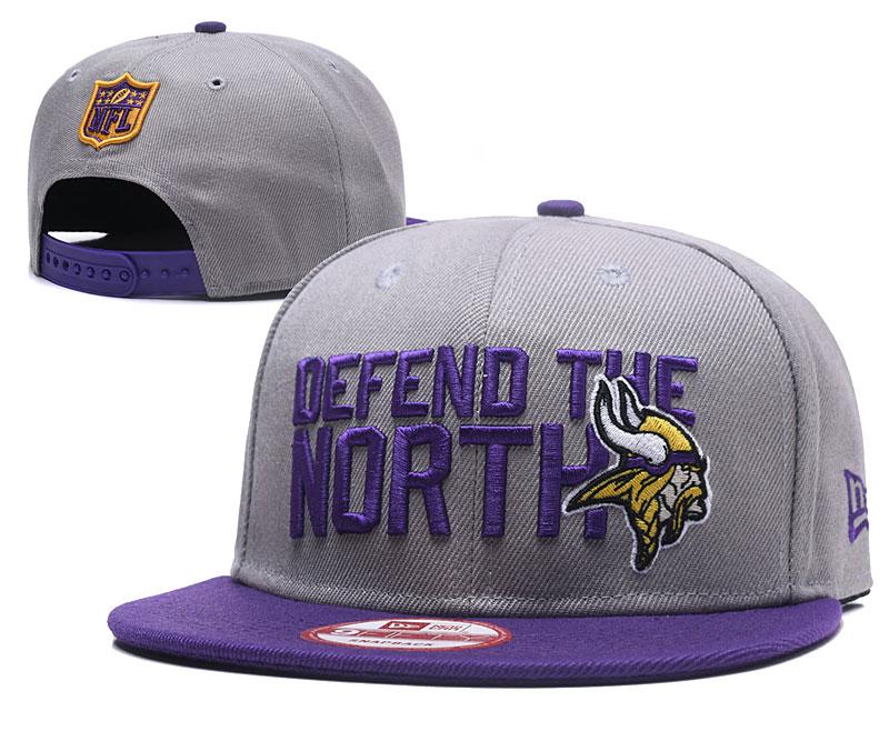 Vikings Team Logo Gray Adjustable Hat GS