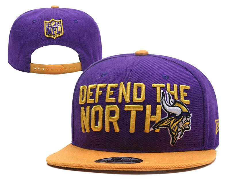 Vikings Team Logo Purple Orange Adjustable Hat YD