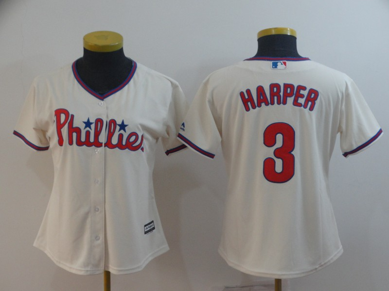 Phillies 3 Bryce Harper Cream Women Cool Base Jersey